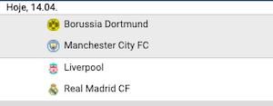 Borussia Dortmund x Manchester City e Liverpool x Real Madrid