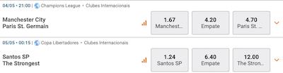 Manchester City psg Santos strongest jogos do dia betmotion apostar