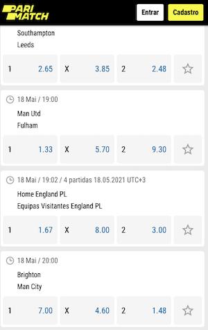 parimatch odds 18/05 premier league