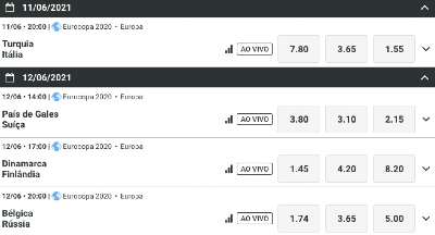 Aproveite ofertas de acumuladores, freebets, cashback, outrights e muito mais para Eurocopa 2020 e também super odds Copa América