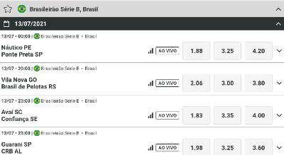 Faça já suas apostas Náutico PE x Ponte Preta SP, Vila Nova GO x Brasil de Pelotas RS, Avaí SC x Confiança SE, Coritiba PR x Vasco da Gama RJ e muito mais!