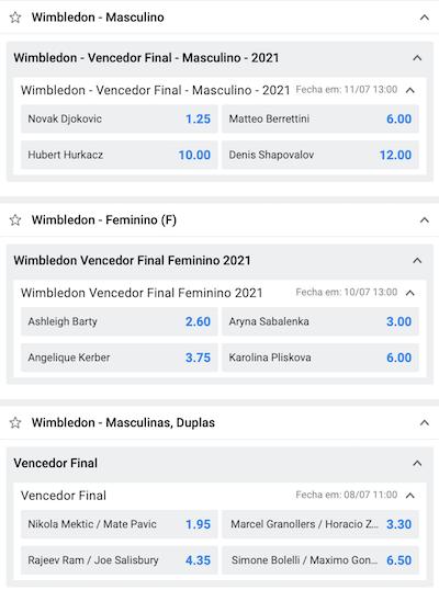 apostas Wimbledon vencedor grand slam betano