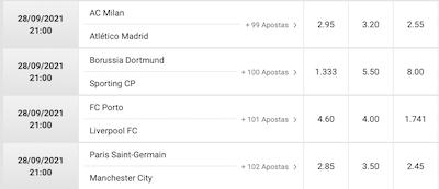 odds champions league city PSG jogos