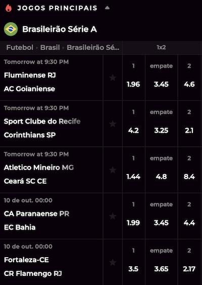 odds apostas online 08/10 seria a brasileiro